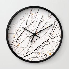 Snowy birch twigs and leaves #decor #society6 #buyart Wall Clock