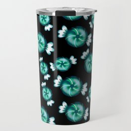 Cute lovely sweet decorative candy in green wrappers pattern on black background. Candy store. Travel Mug