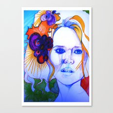 Blonde Girl With Flowers in her hair Canvas Print