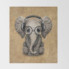 Cute Baby Elephant Dj Wearing Headphones and Glasses Throw Blanket