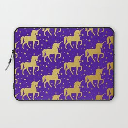 Purple and Gold Unicorn and Stars Pattern Laptop Sleeve
