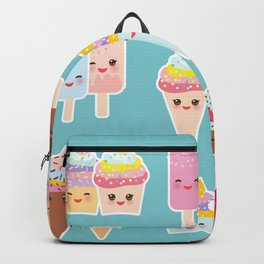 Kawaii cupcakes, ice cream in waffle cones, ice lolly Backpack