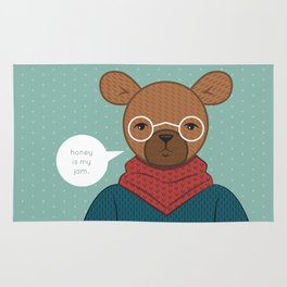 """Honey is my Jam"" Hipster Bear Rug"