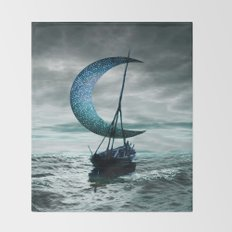 Boat and Moon Throw Blanket