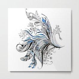 Feathers & Flowers Metal Print