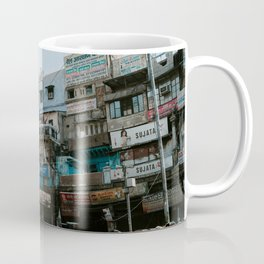 People Walking On Street In Front Of Building Under Blue Sky - Old Delhi, New Delhi, India Coffee Mug