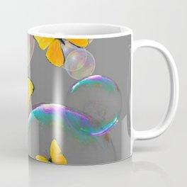IRIDESCENT BUBBLES & YELLOW BUTTERFLIES GREY ART Coffee Mug