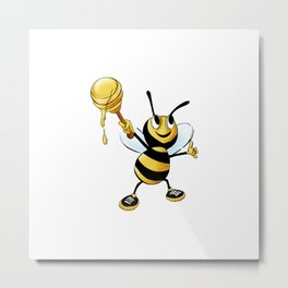 Bumble Bee with Honey Metal Print