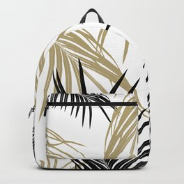 Gold Black Palm Leaves Dream #1 #tropical #decor #art #society6 Backpack