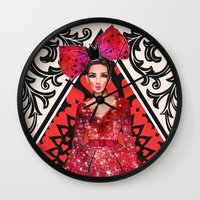 kardashian Wall Clocks featuring Queen of Hearts by Sara Eshak