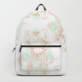 Modern girly pink mint gold Hamsa hand of fatima Backpack