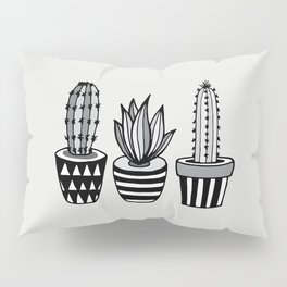 Cactus Plant monochrome cacti nature greyscale illustration floral succulent leaf home wall decor Pillow Sham