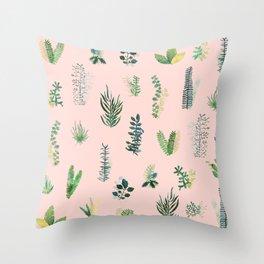 pink garden Throw Pillow