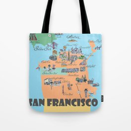 San Francisco Fine Art Print Retro Vintage Favorite Map with Touristic Highlights Active Tote Bag