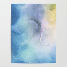 Navy blue teal lavender yellow watercolor brushstrokes Poster