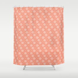 Japanese Asanoha or Star Pattern, Pastel Coral and White Shower Curtain