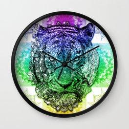 mandala tiger color Wall Clock