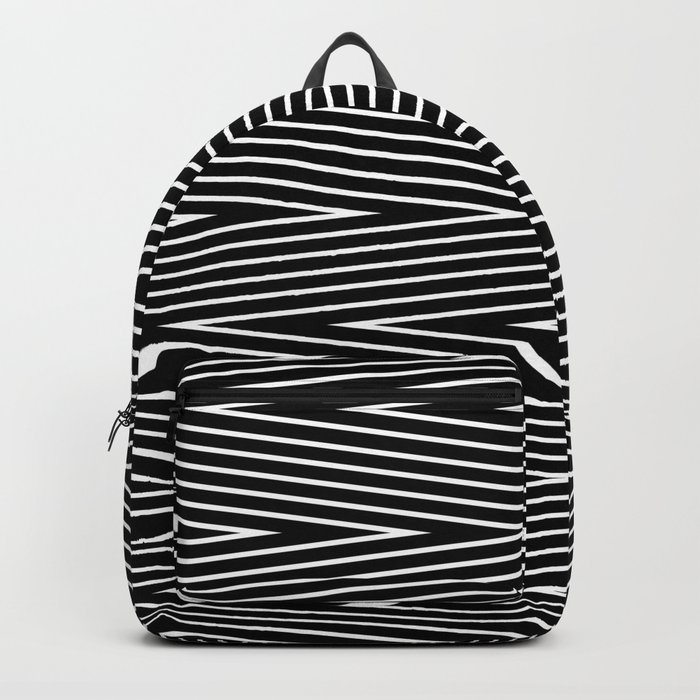 Abstract black and white Zigzag pattern . Fine lines 1 . Backpack