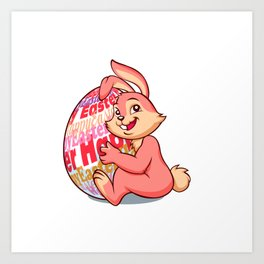 Easter bunny rabbit with pink egg Art Print