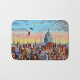 Mary Poppins flying above the rooftops of London Bath Mat
