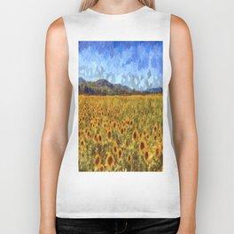 Vincent Van Gogh Sunflowers Biker Tank