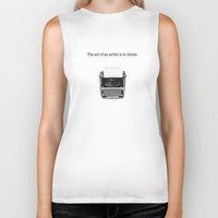 typewriter Biker Tanks featuring typewriter by VALENTINA MAGRO