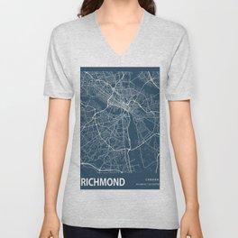 Richmond Blueprint Street Map, Richmond Colour Map Prints Unisex V-Neck