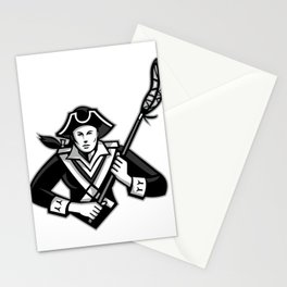 Girl Patriot Lacrosse Player Mascot Stationery Cards