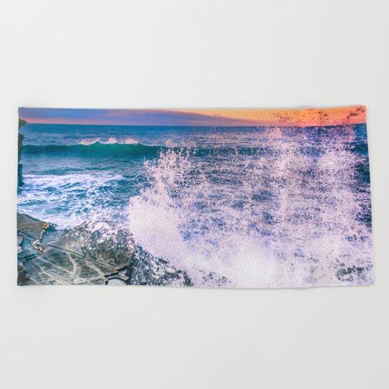 Surf Atlantic Rocky Coast Beach Towel