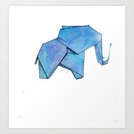 Origami watercolor elephant Art Print