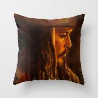 jack sparrow Throw Pillows featuring Captain Jack Sparrow by Rosita Maria