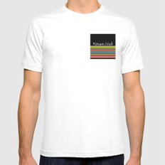 The fitness club . Sport . Colorful stripes on black background . MEDIUM White Mens Fitted Tee