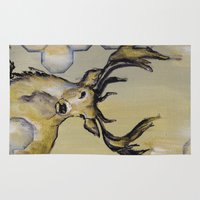 stag Area & Throw Rugs featuring Stag by Sonal Nathwani