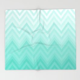 Fading Teal Chevron Throw Blanket