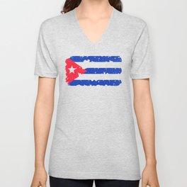 Grundge stylized cuban flag Unisex V-Neck