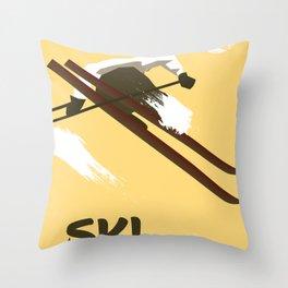 """Ski """"Book today"""" . Vintage style travel poster Throw Pillow"""