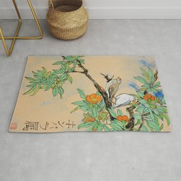 Amadina on the branch Japan Hieroglyph original artwork in japanese style J108 painting by Ksavera Rug