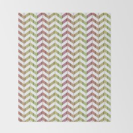 Zigzag striped pattern. Pink, green, brown, white stripes Throw Blanket