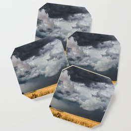 Cotton Candy - Storm Clouds Over Wheat Field in Kansas Coaster