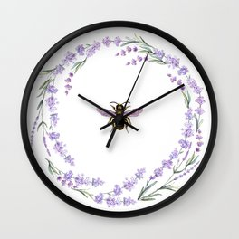 Lavender Bee Wall Clock