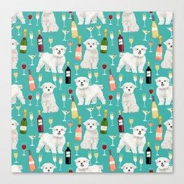 Maltese wine pattern dog breed dog portrait pet friendly pet art champagne Canvas Print