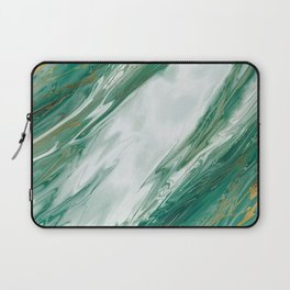 Emerald Jade Green Gold Accented Painted Marble Laptop Sleeve