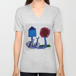 Bicycle and flower Unisex V-Neck