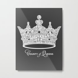 County of Queens | NYC Borough Crown (WHITE) Metal Print
