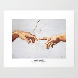 The Creation of Adam by Michelangelo Fingers Art Print