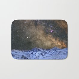 The milky way over the high mountains Bath Mat