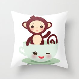Cute Kawai pink cup with brown monkey Throw Pillow