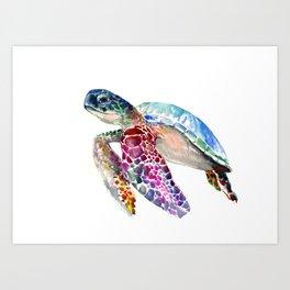 Sea Turtle, swimming turtle art, purple blue design animal art Art Print