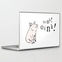 pig Laptop & iPad Skins featuring Pig by Emily Stalley
