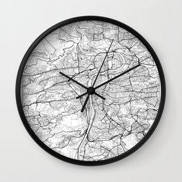 Prague Map White Wall Clock